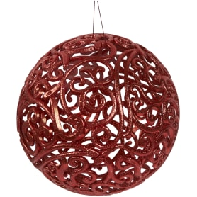 Шар ёлочный «Ажурный», 20 см, пластик, цвет красный