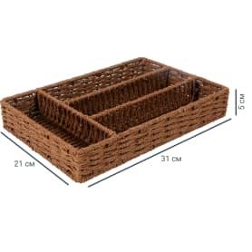 Органайзер, 310x210x50 мм, 3 л, бамбук, цвет коричневый