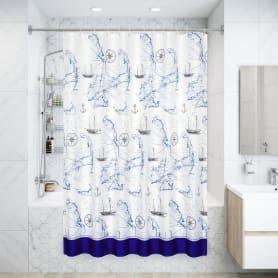 Штора для ванной комнаты «Навигация», 180х200 см, полиэстер, цвет белый