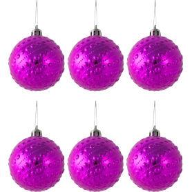 Набор ёлочных шаров 6 см, цвет розовый/фиолетовый, 6 шт.