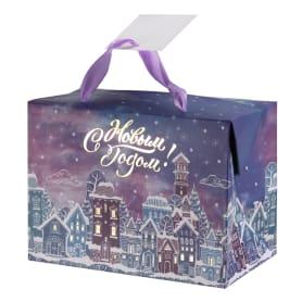 Пакет-коробка подарочный «Зимний город» 15x11 см