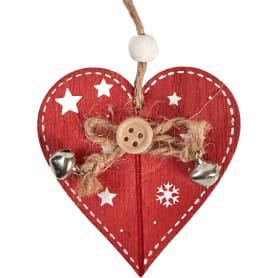 Набор ёлочных украшений ErichKrause Decor «Сердце», 12 см, дерево, цвет красный, 2 шт.