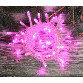 Электрогирлянда светодиодная для дома 100 ламп, цвет розовый