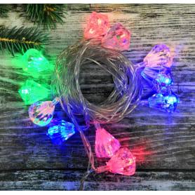 Электрогирлянда светодиодная «Алмаз» для дома 20 ламп, цвет мультиколор