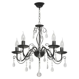 Люстра хрустальная подвесная «Аврора», 5 ламп, 15 м², цвет чёрный