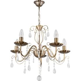 Люстра хрустальная подвесная «Аврора», 5 ламп, 15 м², цвет бронза