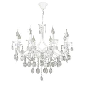 Люстра подвесная «Свеча», 8 ламп, 24 м², цвет белый