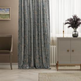 Штора на ленте «Бархат», 160х260 см, цветы, цвет голубой