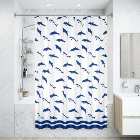 Штора для ванны Dolphins 180x200 см, полиэстер, цвет синий