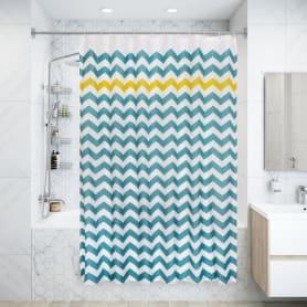 Штора для ванны Olbia SWC-90 с кольцами 180х200 см, полиэстер, цвет голубой/жёлтый