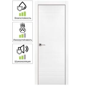 Дверь межкомнатная Рива глухая эмаль цвет белый 60x200 см (с замком)