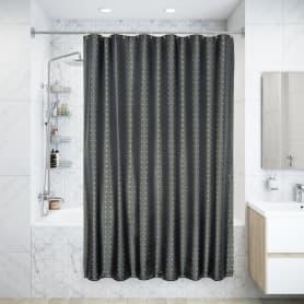 Штора для ванны Grid Grey 180x200 см, полиэстер, цвет серый/жёлтый