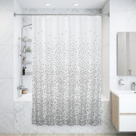 Штора для ванны Confetti 180x200 см, полиэстер, цвет белый/серый