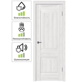 Дверь межкомнатная Классик 2 глухая ПВХ цвет белёный дуб 90x200 см (с замком и петлями)