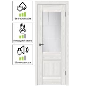 Дверь межкомнатная Классик 2 остеклённая ПВХ цвет белёный дуб 90x200 см (с замком и петлями)