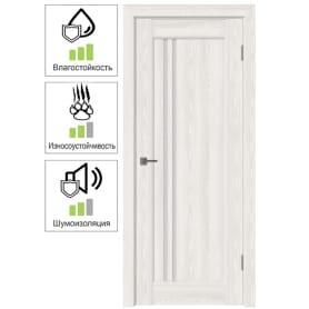 Дверь межкомнатная Дельта вертикальная остеклённая ПВХ цвет белёный дуб 60x200 см (с замком и петлями)