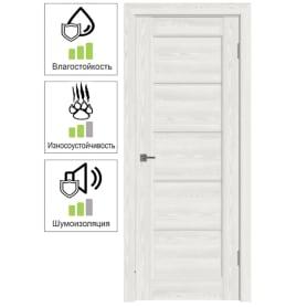 Дверь межкомнатная Дельта горизонтальная остеклённая ПВХ цвет белёный дуб 60x200 см (с замком и петлями)