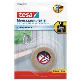 Лента клейкая двусторонняя тонкая Tesa Powerbond 19 мм x 1.5 м цвет прозрачный