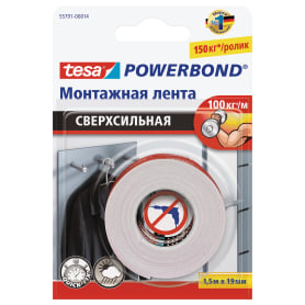 Лента клейкая двусторонняя ультра-сильная Tesa Powerbond 19 мм x 1.5 м цвет белый