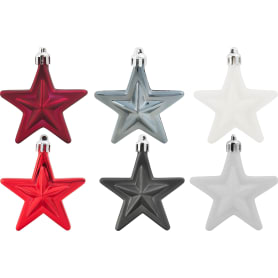 Набор ёлочных украшений «Звёзды», цвет белый/красный/серебряный, 6 шт.