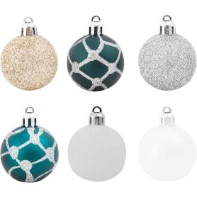Набор ёлочных шаров, 4 см, цвет белый/бирюзовый/сиреневый, 12 шт.