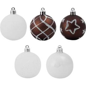 Набор ёлочных шаров, 5 см, цвет белый/бордовый, 15 шт.