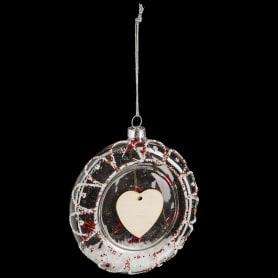 Шар ёлочный «Сердце», 10 см, стекло, цвет прозрачный
