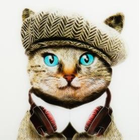 Картина на стекле «Кот в берете» 40x40 см