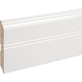 Плинтус напольный МДФ под покраску высота 120 мм длина 2.4 м цвет белый