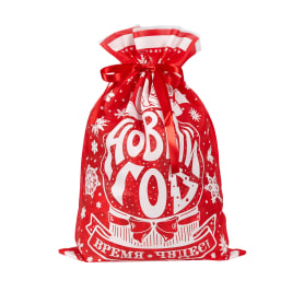 Мешочек с лентой 40x45 см цвет красный