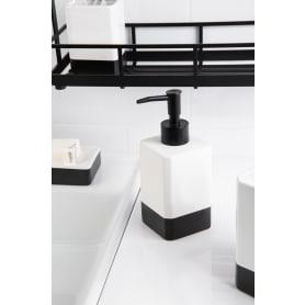 Диспенсер подвесной для жидкого мыла Text керамика цвет чёрный/белый