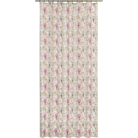 Штора на ленте «Домики», 160x280 см цвет бежевый