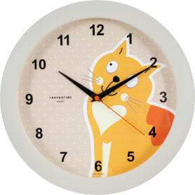 Часы настенные «Кот» круглые 29 см цвет бежевый