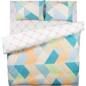 Комплект постельного белья «Геометрия» евро поплин цвет оранжевый/синий