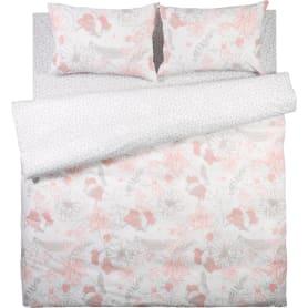 Комплект постельного белья «Паутинка» двуспальный поплин цвет розовый/серый