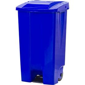 Бак садовый для мусора на колесиках с педалью 110 л цвет синий