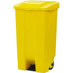 Бак садовый для мусора на колесиках с педалью 110 л цвет жёлтый