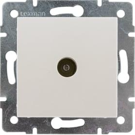 ТВ-розетка оконечная встраиваемая Lexman Виктория шлейф,цвет жемчужно-белый