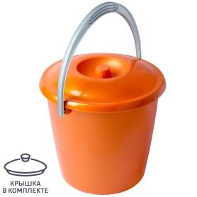 Ведро с крышкой 10 л пластик цвет оранжевый