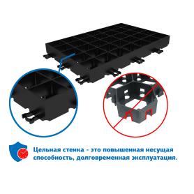 Решётка газонная Gidrolica Eco Super 60x40x6.4 см D400 цвет черный