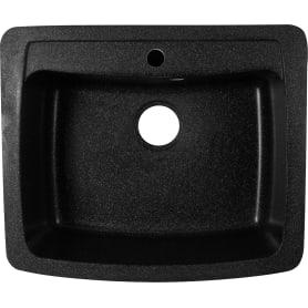 Мойка Эко-М М-03 60.5x51 см глубина 20 см, мрамор, цвет чёрный металлик