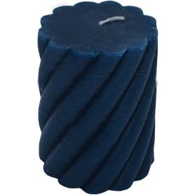 Свеча-столбик витой«Рустик» 7.4х8 см цвет тёмно-синий