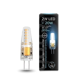 Лампа светодиодная Gauss G4 12 В 2 Вт прозрачная 200 лм, холодный белый свет