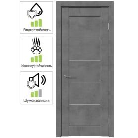 Дверь межкомнатная Сохо остекленная ПВХ цвет лофт темный 70x200 см (с замком и петлями)