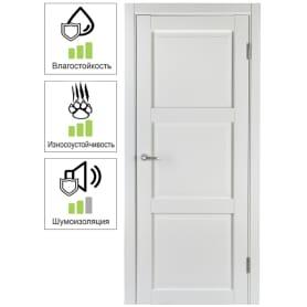 Дверь межкомнатная Адажио глухая Hardflex цвет белый 60х200 см (с замком и петлями)