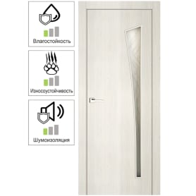 Дверь межкомнатная остекленная ламинация цвет тернер белый Белеза 60х200 см