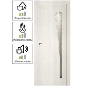 Дверь межкомнатная остекленная ламинация цвет тернер белый Белеза 80х200 см