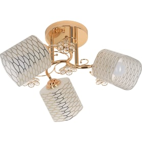 Люстра потолочная Modern 112/3, 3 лампы, 9 м², цвет золотой/белый