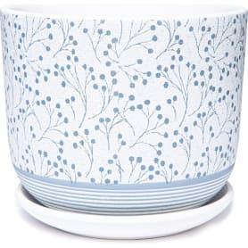 Горшок цветочный Лён ø19 h16.1 см v2.9 л керамика белый/серый