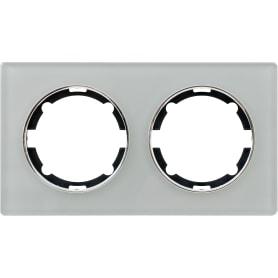 Рамка для розеток и выключателей Onekey Florence 2 поста, стекло, цвет серый